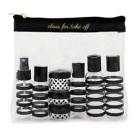"""Miamica® """"Clear for Take-Off"""" 12-Piece Travel Bottle and Bag Set in Black"""