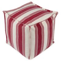 Surya Anchor Bay Square Pouf in Cream/Bright Red