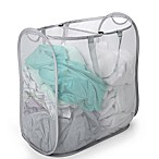 Smart Design 2-Compartment Pop-Up Laundry Sorter Hamper in Grey<br />
