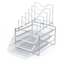 Seville Classics Steel 8-Compartment 3-Tier Stackable Letter File Tray Organizer in Pewter