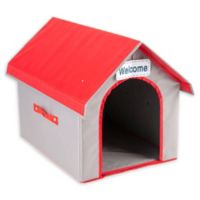 Dog/Cat Life Fold & Go Dog House in Grey/Red