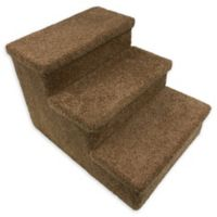 Dog/CatLife 3-Step Carpeted Pet Stairs in Tan