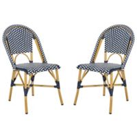 Safavieh Salcha Indoor/Outdoor Stacking Bistro Chair in Navy