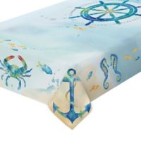 Laural Home Sea Splash 60-Inch x 120-Inch Oblong Tablecloth
