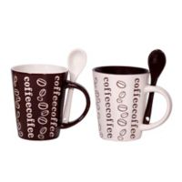 Home Essentials & Beyond Coffee Words Mugs with Spoons (Set of 4)