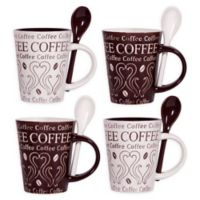Home Essentials and Beyond Coffee Swirl Coffee Mugs with Spoons (Set of 4)