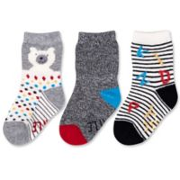 ED Ellen DeGeneres Size 12-24M 3-Pack Polar Bear Crew Socks in Grey