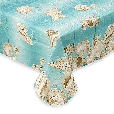 Seashell 70-Inch Round Vinyl Tablecloth