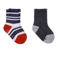 Cuddl Duds® Size 3-12M 2-Pack Crew Socks in Navy/Grey