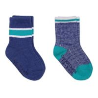 Cuddl Duds® Size 3-12M 2-Pack Boot-Cut Socks in White/Navy