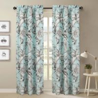 Nouvelle Home Sketch Floral 2-Piece Curtain Panel Set in Blue/Grey