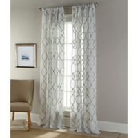 Sherry Kline Medallion 96-Inch Rod Pocket/Back Tab Sheer Window Curtain Panel in Natural/Silver