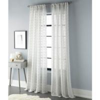 Sherry Kline Geo 96-Inch Rod Pocket/Back Tab Sheer Window Curtain Panel in Natural/Silver