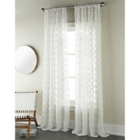 Sherry Kline Contempo 96-Inch Rod Pocket/Back Tab Sheer Window Curtain Panel in Natural/Grey
