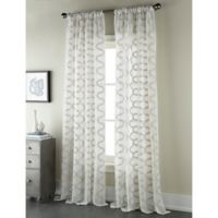 Sherry Kline Shell 96-Inch Rod Pocket/Back Tab Sheer Window Curtain Panel in Natural/Grey