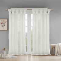Madison Park Rosette Floral Cuff 95-Inch Twist Tab Window Curtain Panel in White