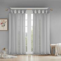 Madison Park Rosette Floral Cuff 63-Inch Twist Tab Window Curtain Panel in Grey
