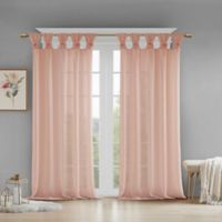 Madison Park Rosette Floral Cuff 63-Inch Twist Tab Window Curtain Panel in Blush