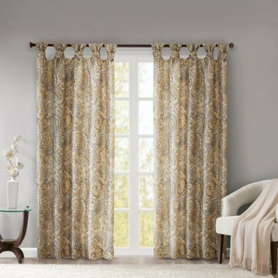Madison Park Yvette Paisley Printed 63 Inch Twist Tab Window Curtain Panel In Yellow