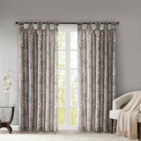 Madison Park Yvette Paisley Printed 63-Inch Twist Tab Window Curtain Panel in Taupe