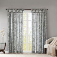 Madison Park Yvette Paisley Printed 63-Inch Twist Tab Window Curtain Panel in Grey