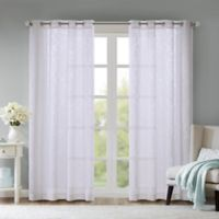 Madison Park Edwin Damask Burnout 84-Inch Grommet Sheer Window Curtain Panel in White