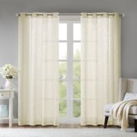 Madison Park Edwin Damask Burnout 95-Inch Grommet Sheer Window Curtain Panel in Ivory