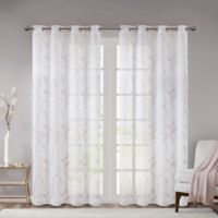 Madison Park Reed Leaf Embroidered Sheer 84-Inch Grommet Window Curtain Panel in Blush