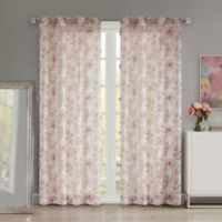 Madison Park Idalia Floral Printed Sheer 84-Inch Grommet Window Curtain Panel in Blush