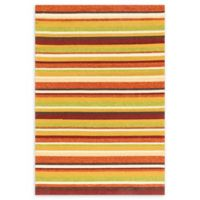 Loloi Rugs Venice Beach 9'3 x 13' Striped Indoor/Outdoor Round Area Rug in Sunset