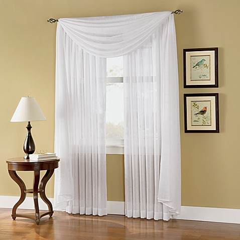 Caprice Sheer 84-Inch Rod Pocket Window Curtain Panel in White