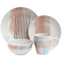 Soiree Mondrian 16-Piece Dinnerware Set in Pink
