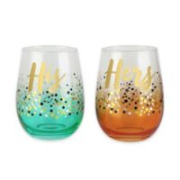 His and Hers Stemless Confetti Themed Goblets
