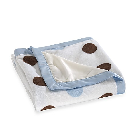 kidsline™ Large Dotted Blanket in Blue/Brown