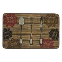 "Rustic Utensil 20"" x 32"" Kitchen Mat in Chocolate"