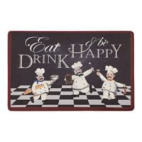 "Chef Gear Eat Drink Be Happy 20"" x 32"" Gelness Anti-Fatigue Kitchen Mat in Black"