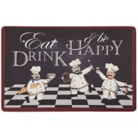 "Chef Gear Eat Drink Be Happy 20"" x 39"" Gelness Anti-Fatigue Kitchen Mat in Black"