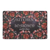 "Chef Gear Kitchen Seasoned Love 20"" x 32"" Gelness Anti-Fatigue Kitchen Mat in Black"