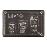 """""""Take a Coffee"""" Gelness 20"""" x 32"""" Kitchen Mat in Black"""