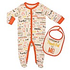 "Baby Starters® Newborn ""Everyone Thankful"" 2-Piece Footie and Bib Set in Ivory"