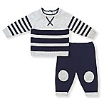 2-Piece Newborn Sweater and Pants Set in Navy/Grey