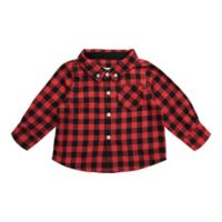 Beetle & Thread Size 12-18M Buffalo Plaid Flannel Shirtzie in Red