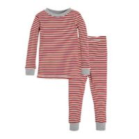 Burt's Bees Baby® Size 12M 2-Piece Candy Cane Stripe Holiday Pajama Set in Red/Ivory