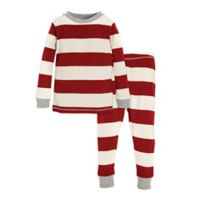 Burt's Bees Baby® Size 12M 2-Piece Rugby Stripe Holiday Pajama Set in Red/Ivory