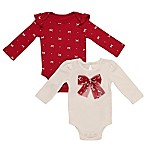 Baby Starters® Size 6M 2-Pack Bow Long Sleeve Bodysuits in Red/Ivory