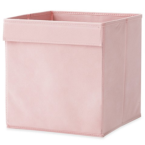 Real simple fabric bin in pink bed bath beyond for Pink bathroom bin