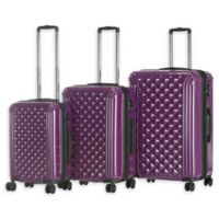 Triforce Luggage Avignon 3-Piece Hardside Spinner Luggage Set in Purple