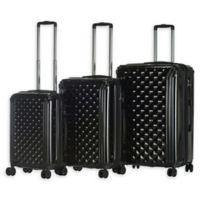 Triforce Luggage Avignon 3-Piece Hardside Spinner Luggage Set in Black