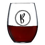 "Luminarc® Monogrammed Letter ""B"" Stemless Wine Glass"