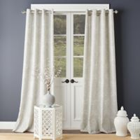Shetland Print 63-Inch Grommet Top Window Curtain Panel in Grey